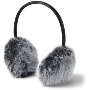 Furry white and black winter earmuffs